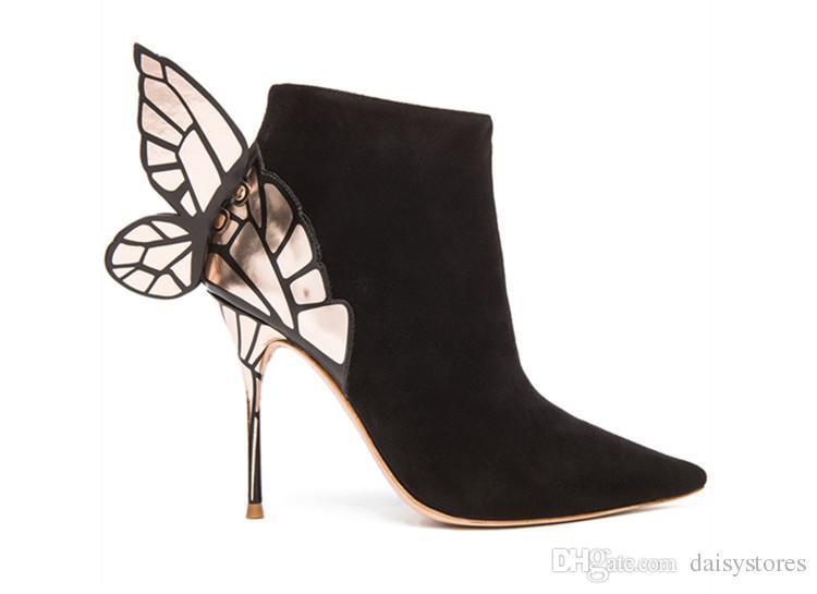 0c912d60ea3eff Acheter Papillon Ange Aile Bottines À Talons Hauts À Paillettes Bout Pointu  Bottes Sexy Femme Cuir Daim Talons Bottes Chaussures De $144.17 Du Ado525  ...