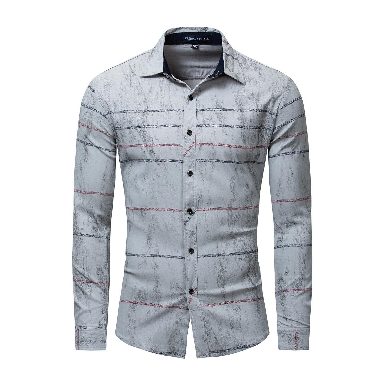 5cc3916aa12f Retro Printed Shirt Men Striped Shirt Long Sleeve Casual Dress Shirt ...