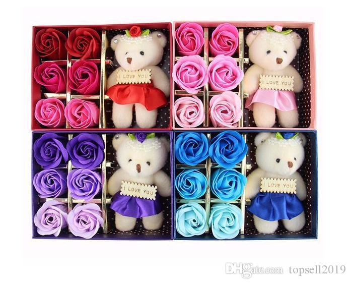 2018 Romantic Rose Soap Flower With Little Cute Bear Doll 6pcs Box Gift For Valentine Day Giftsfor Wedding Gift or birthday Gifts SN1999