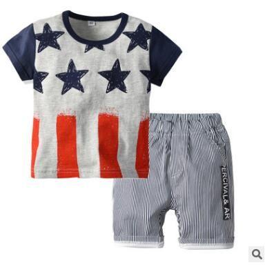 cb4f81ca445b 2019 Boys Clothing Set 2019 Summer Short Sleeve Cartoon Stars Tops Kids Boy  Clothing Set T Shirt Striped Shorts Pants Cotton Boys Clothes 2 6T From ...