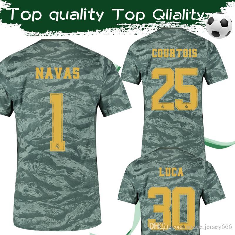 quality design 2c536 3e49b NEW 2020 Real Madrid Goalkeeper Away Soccer Jersey 19 20 #1 NAVAS #25  COURTOIS Camouflage Football Shirt 2019 #30 LUCA Football Uniforms