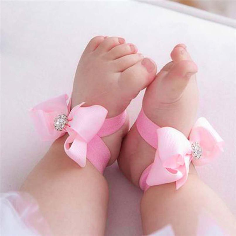 Fashion Baby Summer Beautiful Bowknot Barefoot Foot Flower Toddler Baby Foot Flower Anklet Baby Girl Sandals+Headband #5JE15#F