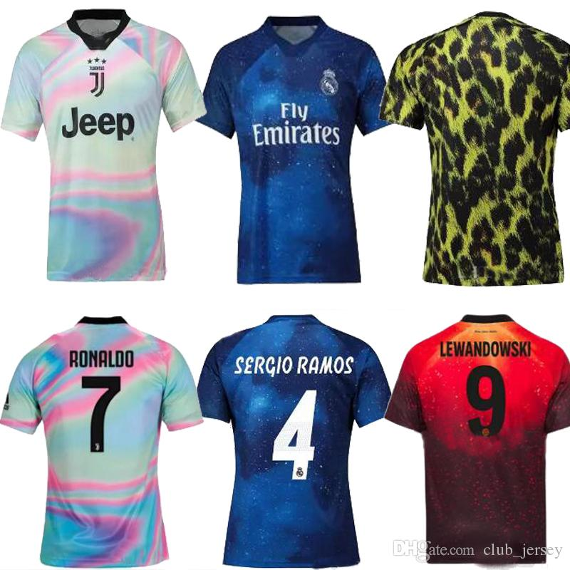 timeless design c6b41 4adf1 2019 JUVENTUS Ronaldo RAMOS JAMES Real Madrid Ea Sports Mens Soccer Jersey  18 19 fourth Outstanding camisa futebol football shirts 2020
