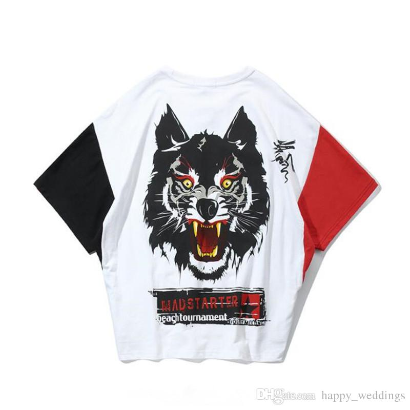 2019 New Summer Bat Sleeve Men's FiveSleeve Trendy Hip-hop Loose Harbor Wind Stitching Back Wolf Head Printed T-shirt for Men