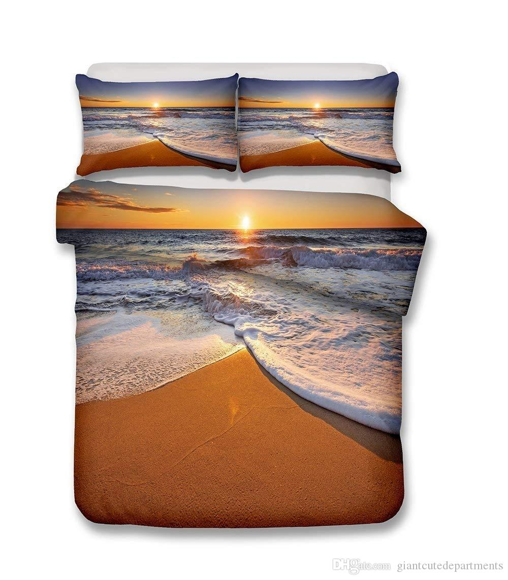 Beautiful Beach Scenery Series Sunny Beach And Sea wave Bedding Set Print Duvet Cover Set Lifelike Bed Sheet
