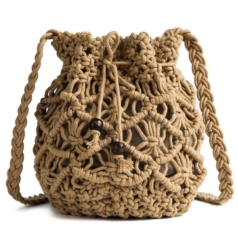 Hollow Rattan Buckets Bag Wicker Beads Drawsting Straw Bags Rope Weave Women Shoulder Crossbody Bags Summer Beach Small Purses