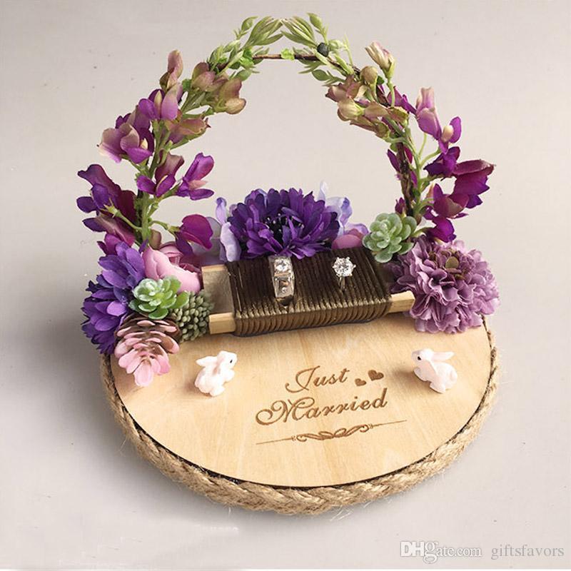 6495e54982 Acquista Personalizzato Manuale Anello Portatore Cuscino Idee Glicine  Naturale Foresta Fiore Anello Titolare Impegno Matrimonio Proposta Giorno  Delle Nozze ...