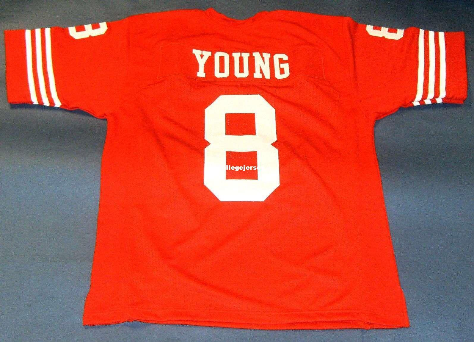 sale retailer 08927 a9e2f Cheap retro #8 STEVE YOUNG CUSTOM MITCHELL & NESS Jersey red Mens Stitching  High-end Size S-5XL Football Jerseys College NCAA