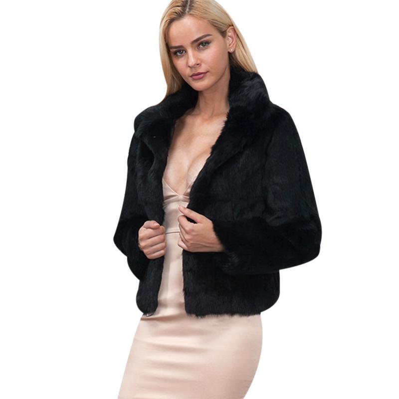 aba80a534 Women Rabbit Faux Fur Coat Chic Fourrure Winter Warm Turn-Down Collar Faux  Fur Jacket Long Sleeve Slim Outwear White Overcoat