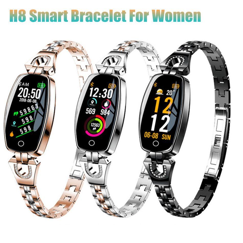 1279d7438302 H8 Pulsera Inteligente para Mujeres Presión Arterial Monitor de Ritmo  Cardíaco Rastreador de Fitness IP67 Reloj Inteligente Femenino Impermeable