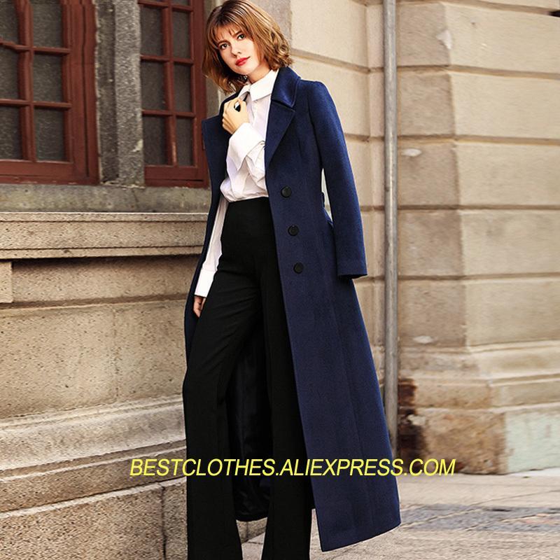 b54ae43646e30 2019 Elegant Women S Woolen Coat Autumn Winter Thick Cashmere Jacket Slim  Belt Wool Coats For Women Turn Down Collar X Long TopsWM175 From Vikey18