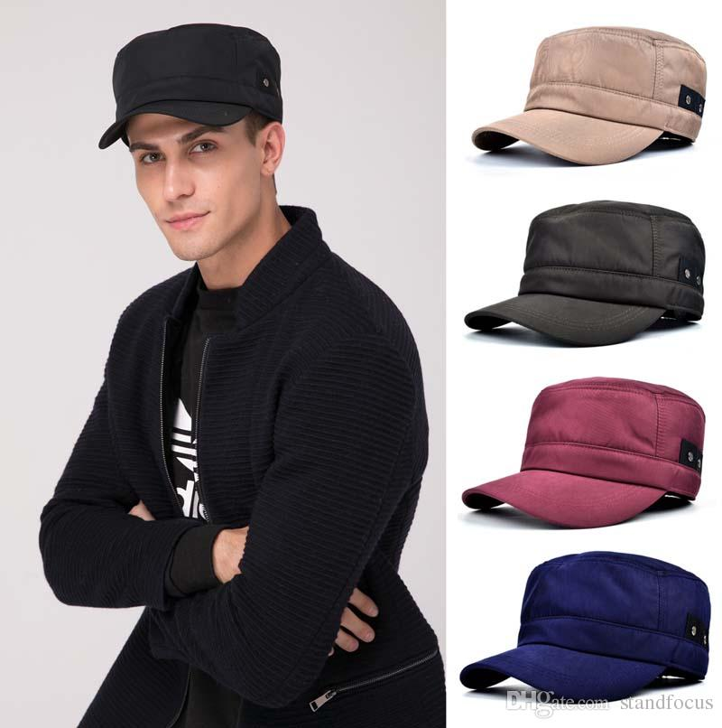 Stand Focus Men Windproof Military Army Cadet Hat Cap Solid Fashion Twill  Fall Winter 3D cutting Breathable Black Blue Red Camel Olive 60cm