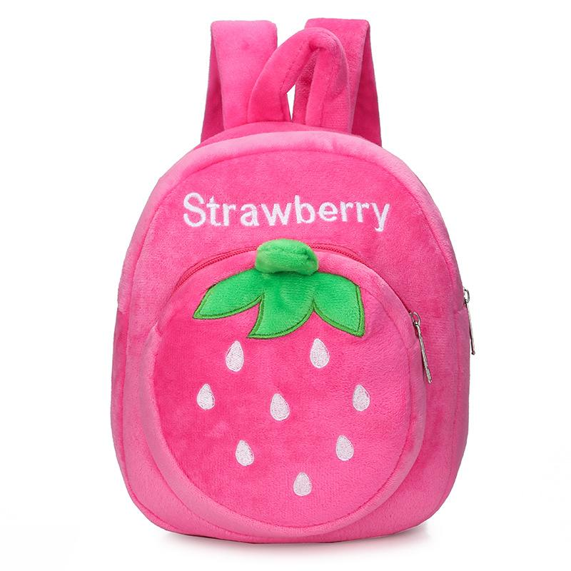 2020 Baby Stuff Baby Strawberry Fruits Soft Backpack Cartoon Plush Book Bag Kids Toddlers Plush Backpacks Gifts