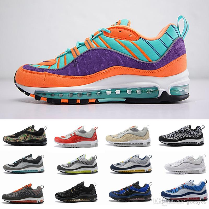 buy popular 71942 9314d Vibrant Air OG Designer 98 Gundam Sprite Cone Mens Running Shoes Trainers  98s White Maxes Green Athletic Brand Sports Women Sneakers Size 12
