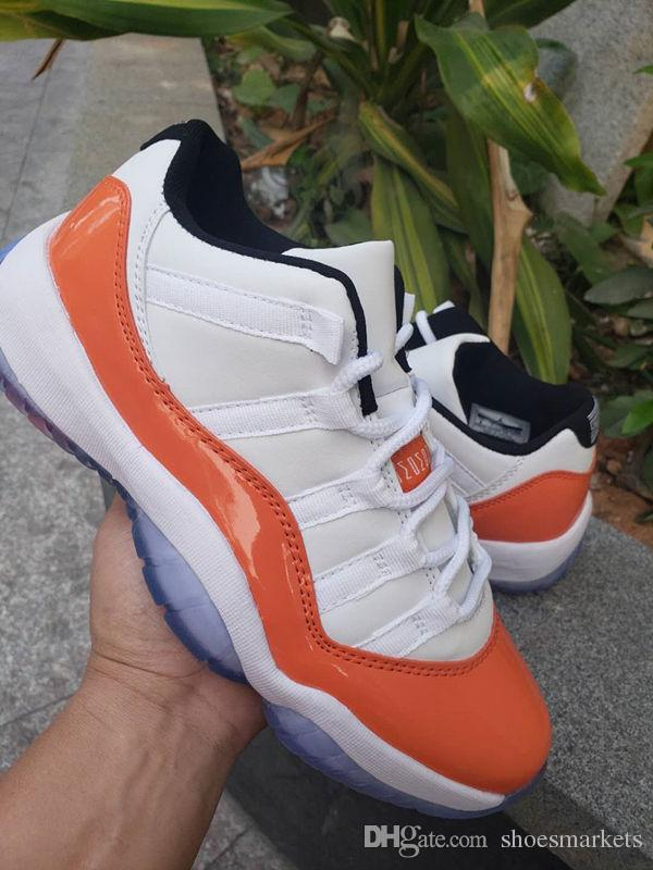 newest 03eae 3437d 2019 New 11 white orange Low men basketball shoes 11s XI sports sneakers  trainers outdoor high quality size 8-13 with box