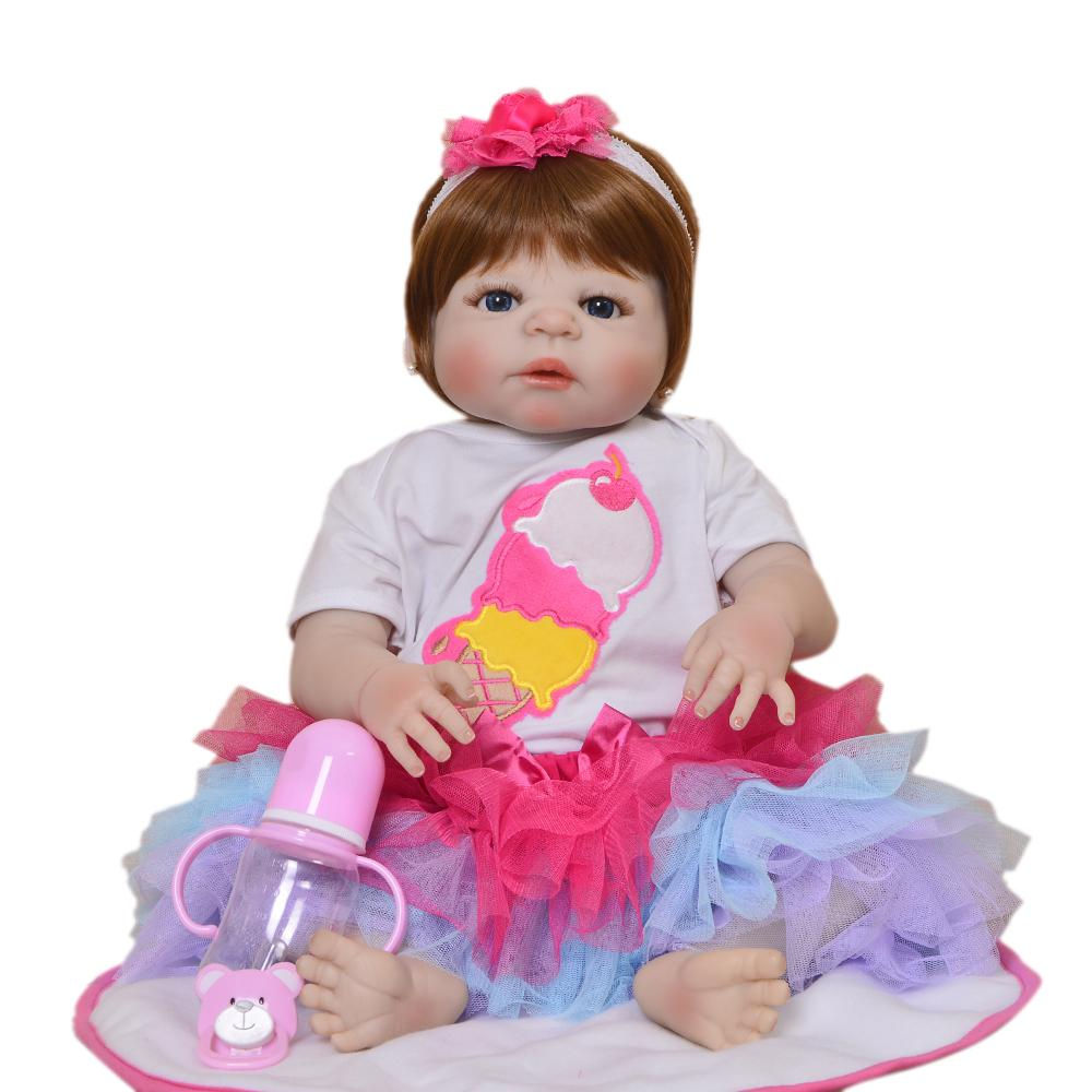 7899b3f36 55cm Full Silicone Reborn Babies Dolls 22inch Bonecas Adorable Simulation  Bebe Reborn Babies Princess Children Best Gifts Toy Outfits For Girls And  Dolls ...