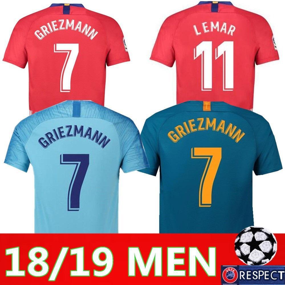 00cf175b83d 2019 Atletico Madrid Soccer Jersey Men Set 18 19 Home Away 3rd THIRD ...