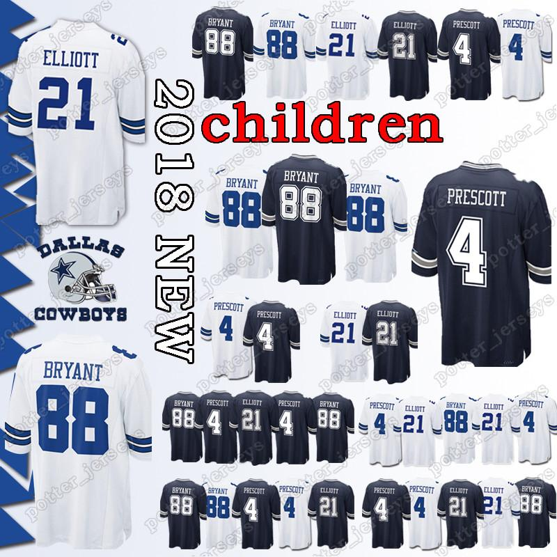 f46f66eb6e8 YOUTH Dallas Cowboys 21 Ezekiel Elliott Jerseys 4 Dak Prescott 88 ...