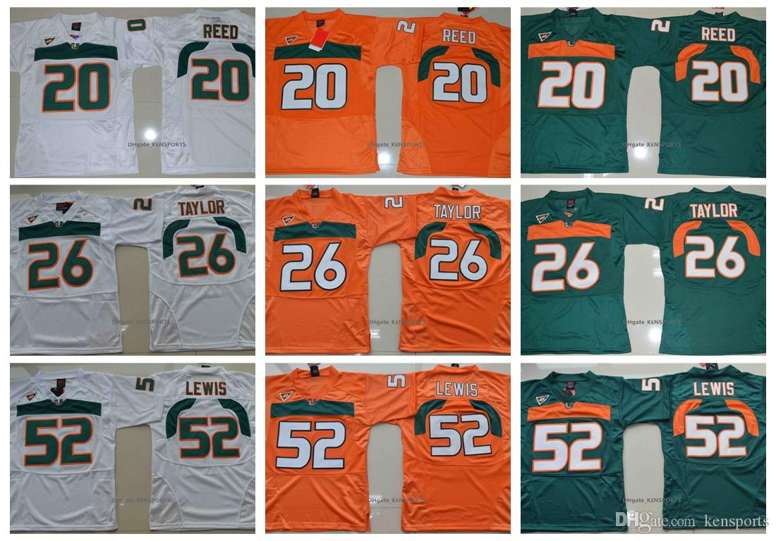 sale retailer 3bb21 1f543 Vintage Miami Hurricanes College Football Jerseys Men Youth 26 Sean Taylor  52 Ray Lewis R.Lewis 20 Ed Reed University Football Shirts