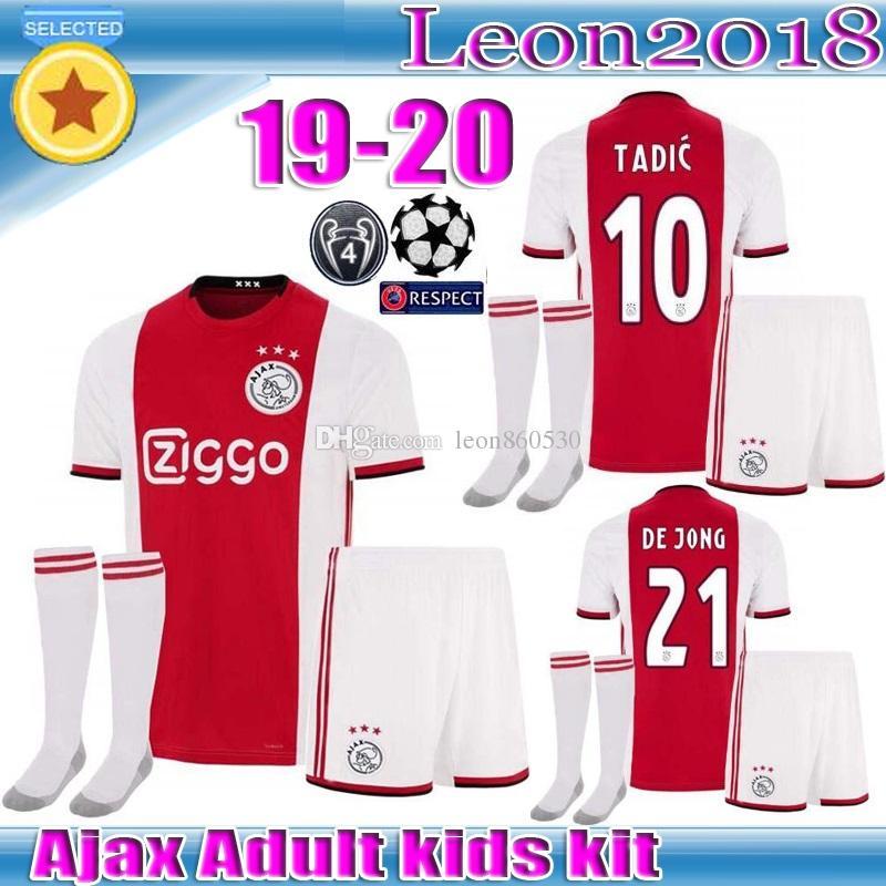 low priced 32133 2160e Adult kids kit 2019 2020 Ajax FC Soccer Jersey 19 20 ZIYECH TADIC HUNTELAAR  DOLBERG SCHONE men youth Jerseys Football Shirts
