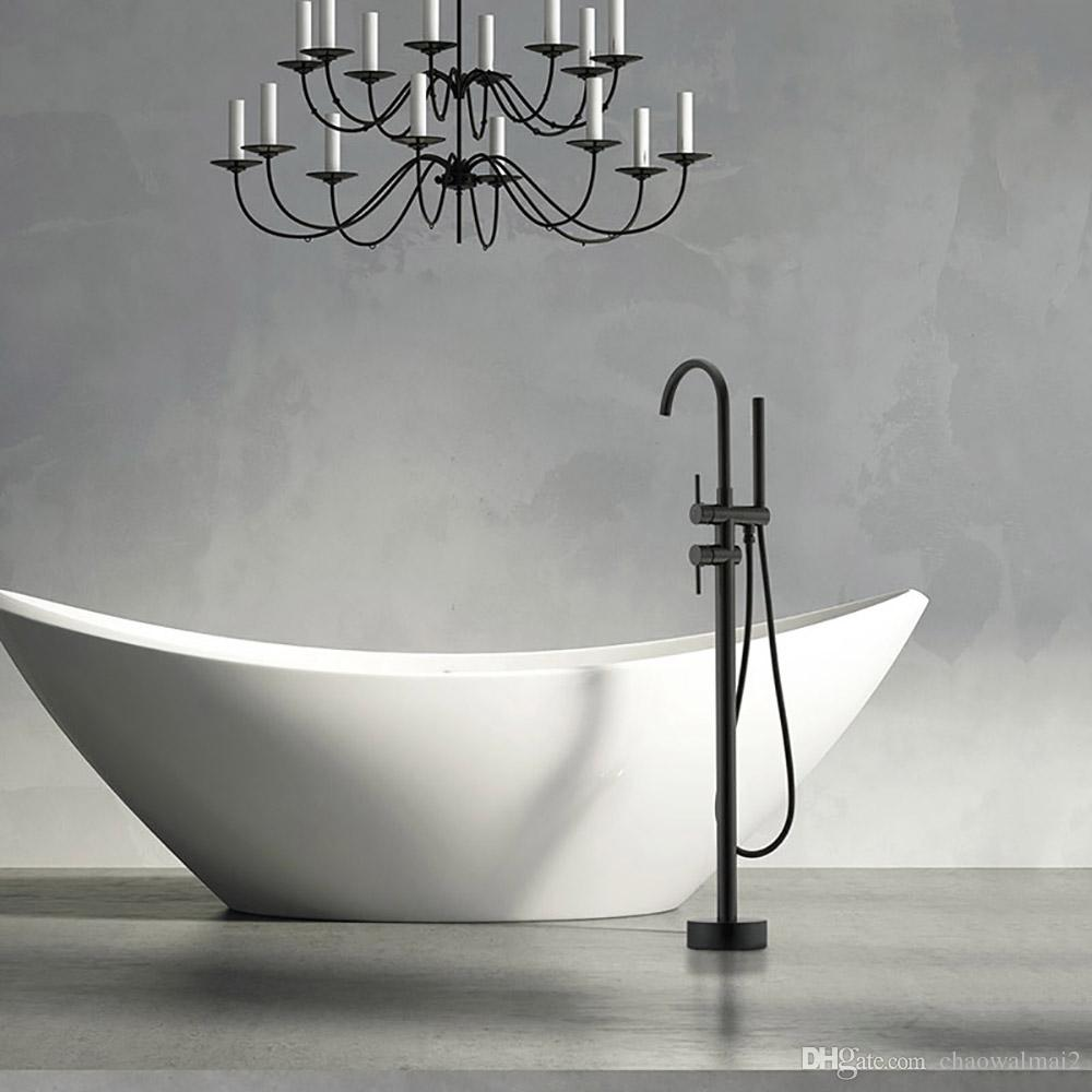2019 New Black Luxury Bathroom Floor Stand Shower Faucet Brass Bathtub  Mixer Tap Tub Faucet Set Black From Chaowalmai2, $331.66 | DHgate.Com