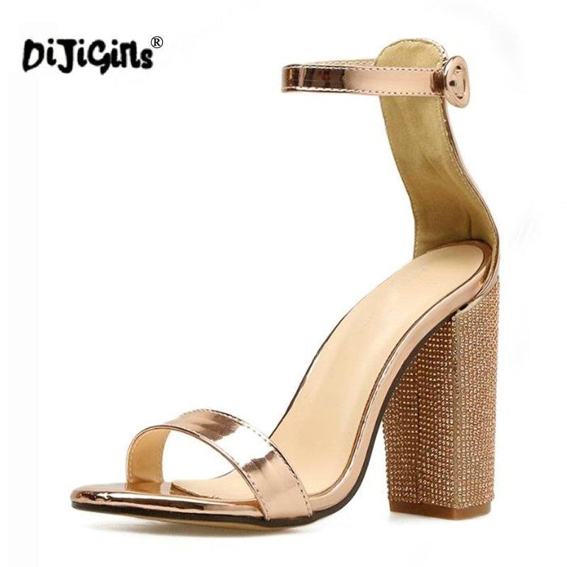 56e9ff7c6da Dropship Women Platform Sandals Summer Crystal Heel Block Square Heels  Ladies Gold High Heels Party Wedding Shoes Woman Pumps Online with   49.95 Pair on ...