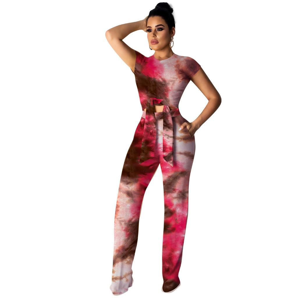 a2e17ec8b9658 2019 New Arrival Women s Two Piece Pants Designer High-elastic Printed  Wide-leg Pants for Summer Panelled with Fashion Print Three Color