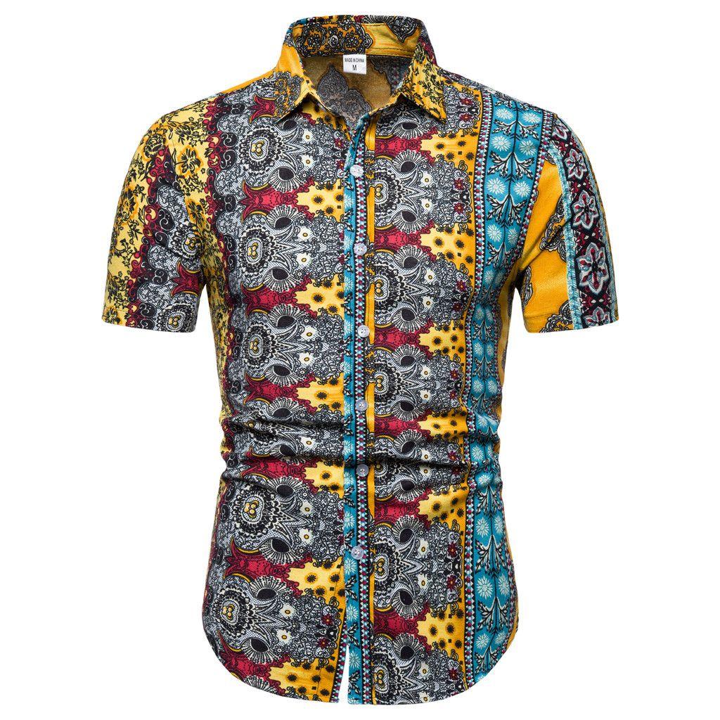7243b3175e5 Mens Black Patterned Short Sleeve Shirt - Gomes Weine AG