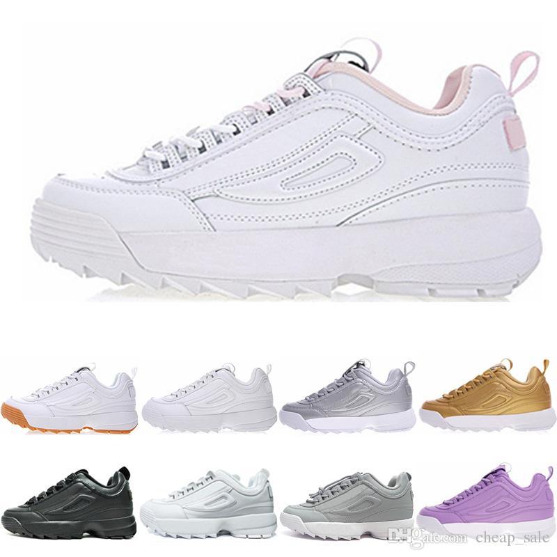Mujeres Hombres Rosado Gris Deporte Zapatos Deportivas Para De Hombre Blanco Casuales Triple Fila Disruptor Dorado Zapatillas 2 Ii Negro exoEQBWrdC