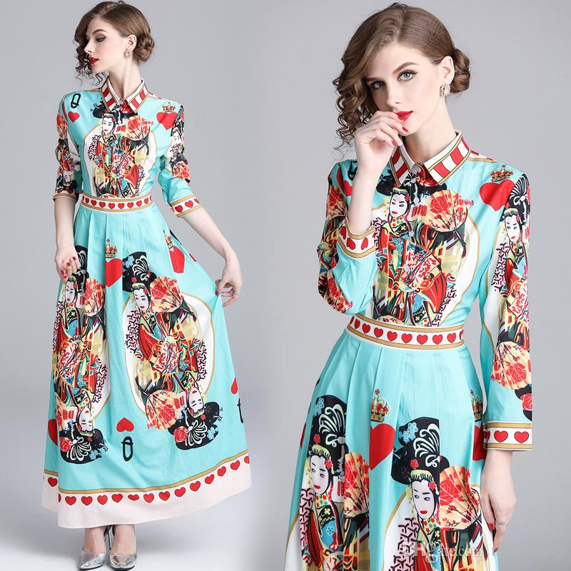 a09cb7c17bb 2019 Spring Fall Runway Luxury Floral Print Long Sleeve Collar Empire Waist  Designer Maxi Dresses New Arrival Wholesale Womens Ladies Casual Unique  Prom ...