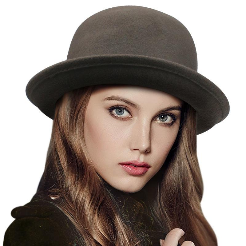 47f5c5759c267 2016 Vintage Women Lady Cute Trendy Wool Felt Bowler Derby Fedora Hat Cap  Spring Hats Caps In Stock 20 D19011103 Sun Hat Straw Hats From Yizhan02