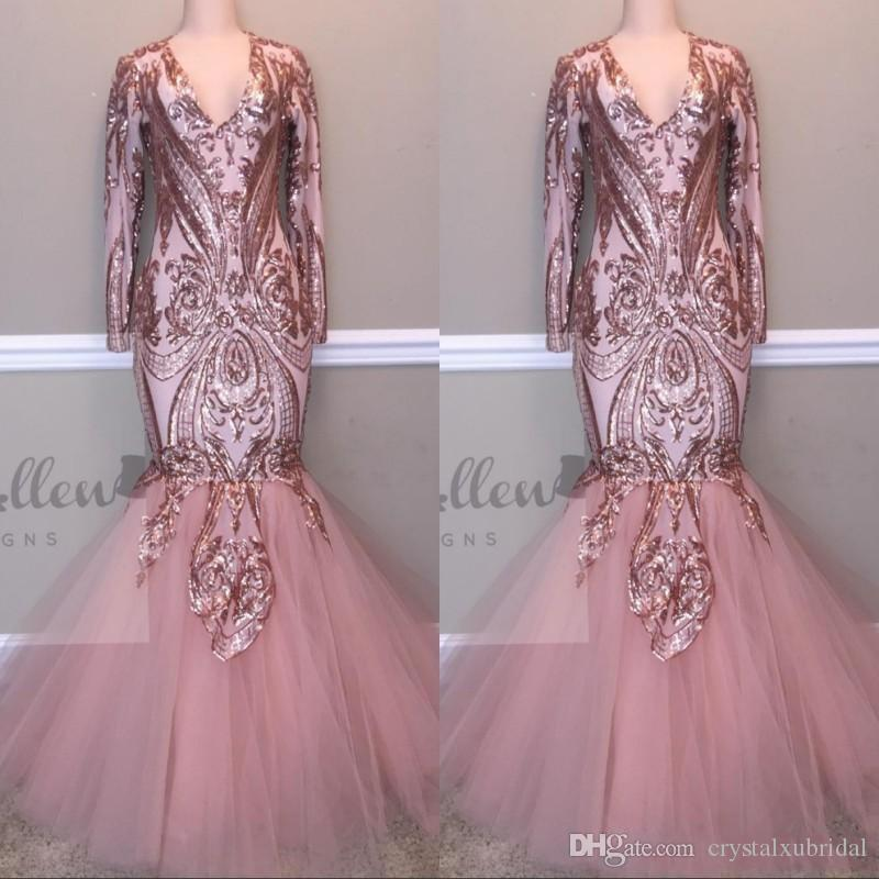 417f54519d 2019 New Blush Pink Bling Prom Dresses V Neck Long Sleeves Sequined Lace  Appliques Mermaid Floor Length Sequins Evening Dresses Party Gowns Lace Gowns  Long ...