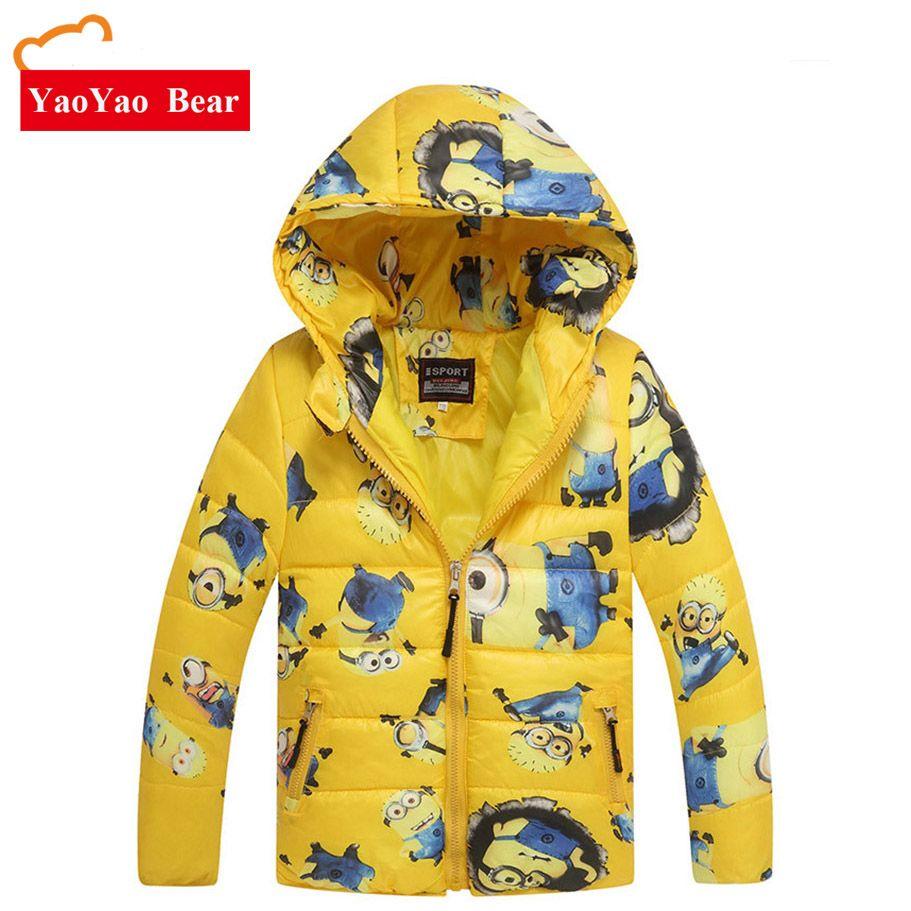 57996cfd9 Minion Boy Coats Hooded High Quality Character Winter Boy Kids ...