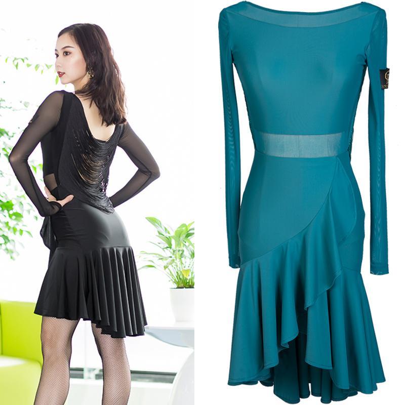 4c31e92a8 Latin Dance Dress Long Sleeve Sexy Tassel Halter Professional ...
