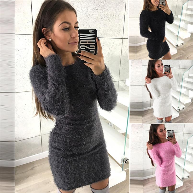 ba6f94f24e5 Women Winter Long Sleeve Solid Sweater Fleece Warm Basic Short Sexy Dresss  Pull Femme Hiver Sweater For Women Truien DamesZ30 Buy Dresses Online  Evening ...