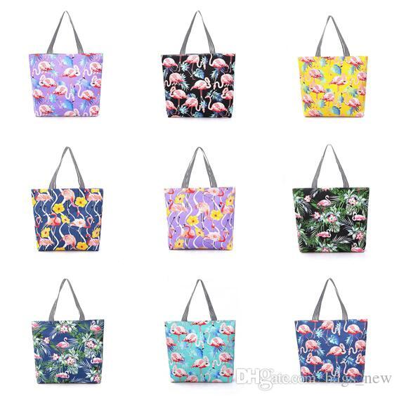 9e7d2e189eafb Fashion Women Canvas Flamingo Pattern Shoulder Beach Bag Female Casual Tote  Shopping Big Bag Floral Messenger Bags White Bags Insulated Bags From  Bags_new, ...