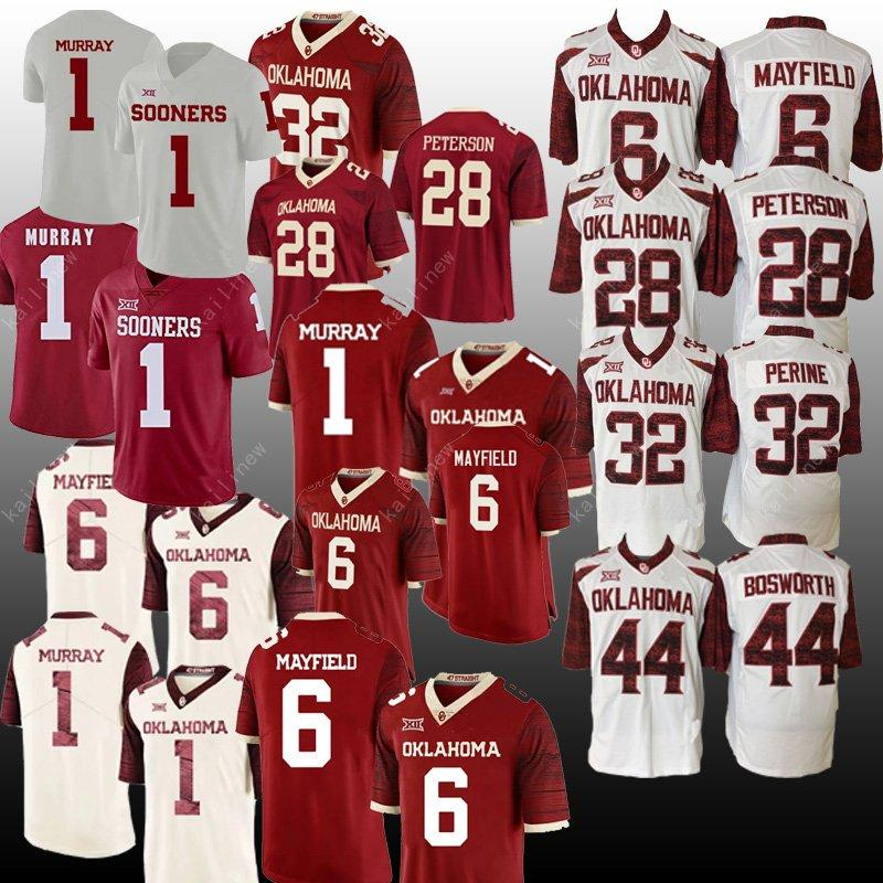 promo code f4477 b184b NCAA jersey Oklahoma Sooners 1 Kyler Murray 6 Baker Mayfield 28 Adrian  Peterson 44 Brian Bosworth 32 Samaje Perine College Football jerseys