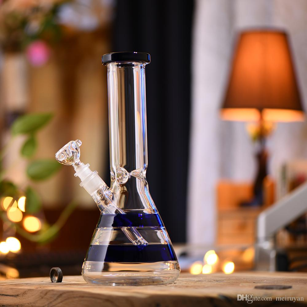 Big Bottle Vase Glass Straight Art Bongs Smoking Water Pipe Smoke Hookah Sets Blue Strip Design