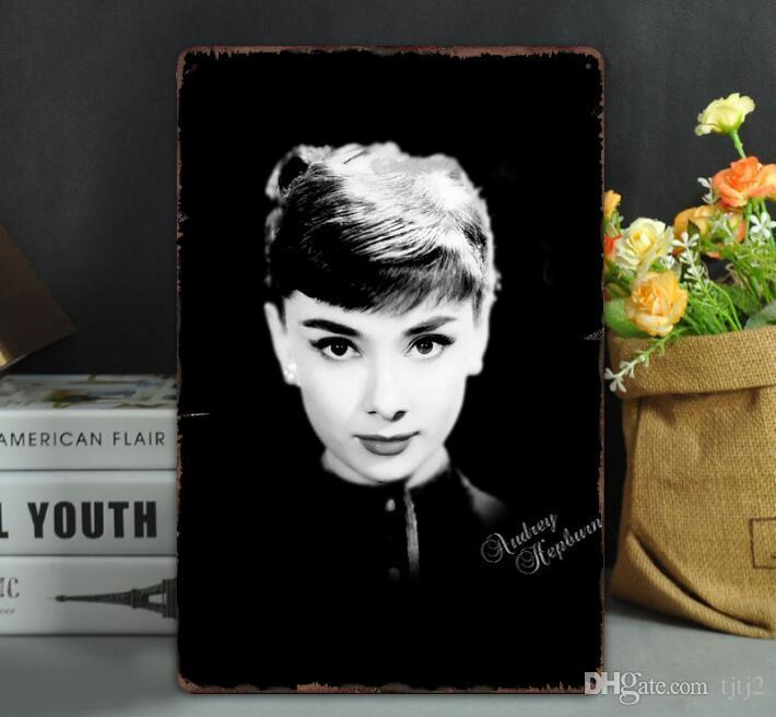 HOT Vintage Metal Tin Signs For Wall Decor Audrey Hepburn Wall Art Iron Paintings Metal Signs Tin Pub Bar Garage Home Decoration