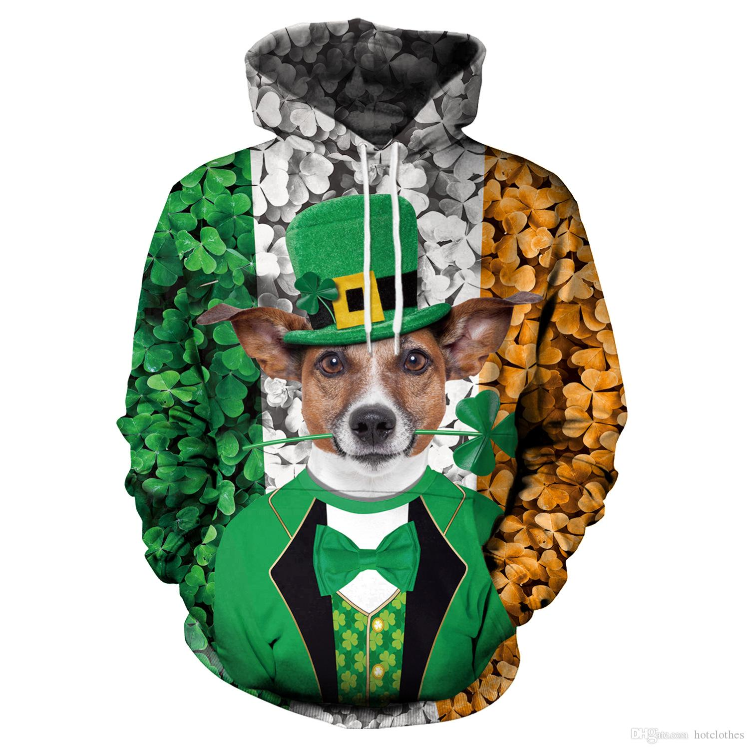 75a6848d2357 2019 Men Clothes Lucky Green Clover Mens Hoodies Women Sweatshirt Funny 3D  Dog With Cap Printed St. Patrick S Day Hoodie Long Sleeve Tops Jumpers From  ...