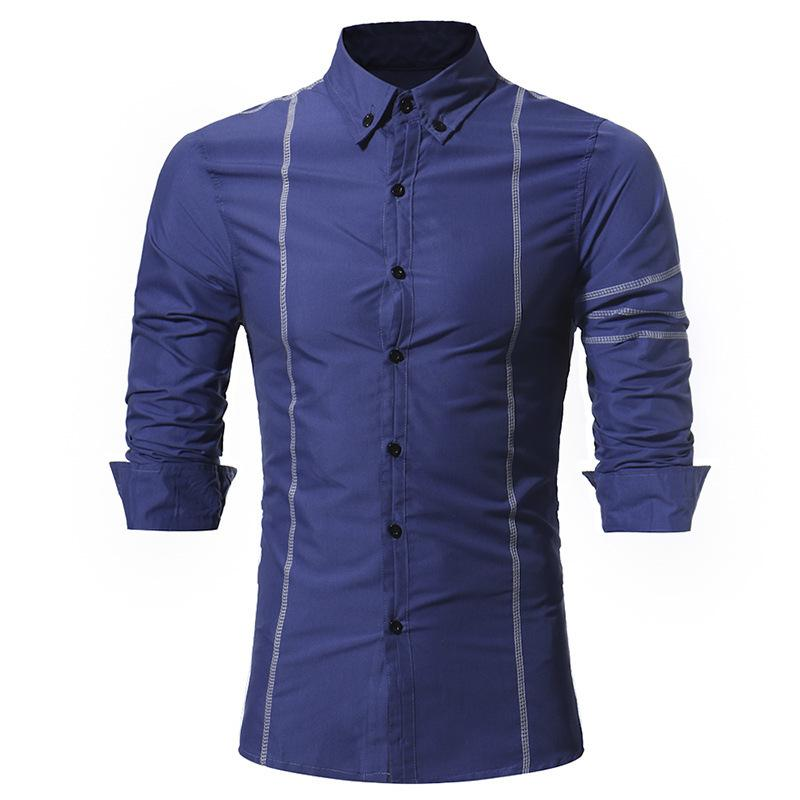 2019 Pop2019 Trade Men S Wear Clothing Pattern Personality Copy Go Line Man  Cool Time Slim Long Sleeve Shirt Charlie Zero One From Tikoy a4c725cc9