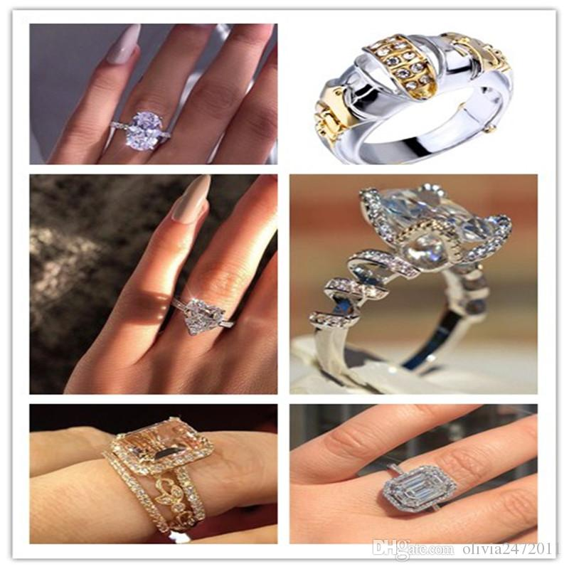 6 Designs Mix Gold/White Gold Color Wedding Rings For Women Fashion Zircon Crystal Heart Square Engagement Ring SJ