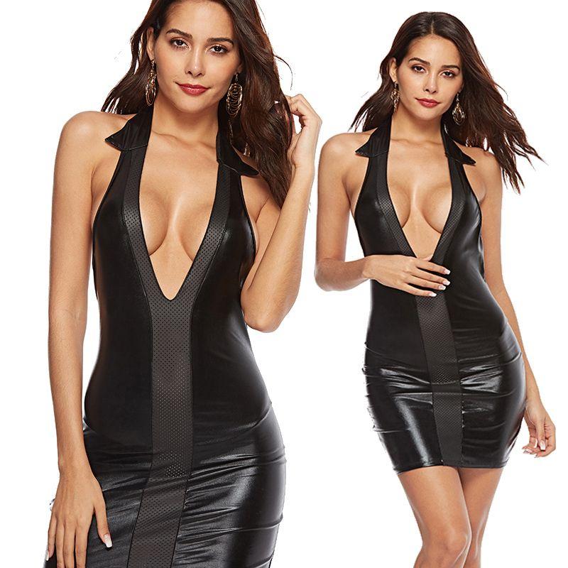 3f4b74cbca Deep V-neck Women Large Size PVC Club Wear Sexy Halter Patent ...