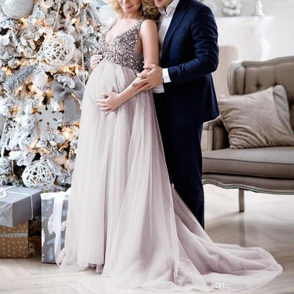 ad4734398 2019 Sexy Pregnant Women Summer Evening Party Dress Clothing Women Maternity  Sling V Neck Sequin Cocktail Long Maxi Prom Gown Dress From Qin342952757,  ...