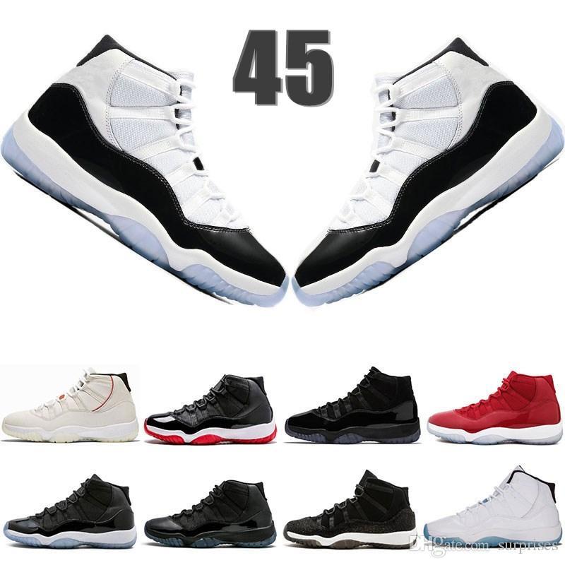 04ffda0580f4 Acheter En Stock 11s Mens Chaussures De Basketball Concord 45 Platine Tint  Prom Night Gym Rouge 11 Sneakers De Sport De Race Bred Femmes Taille 5.5 13  De ...