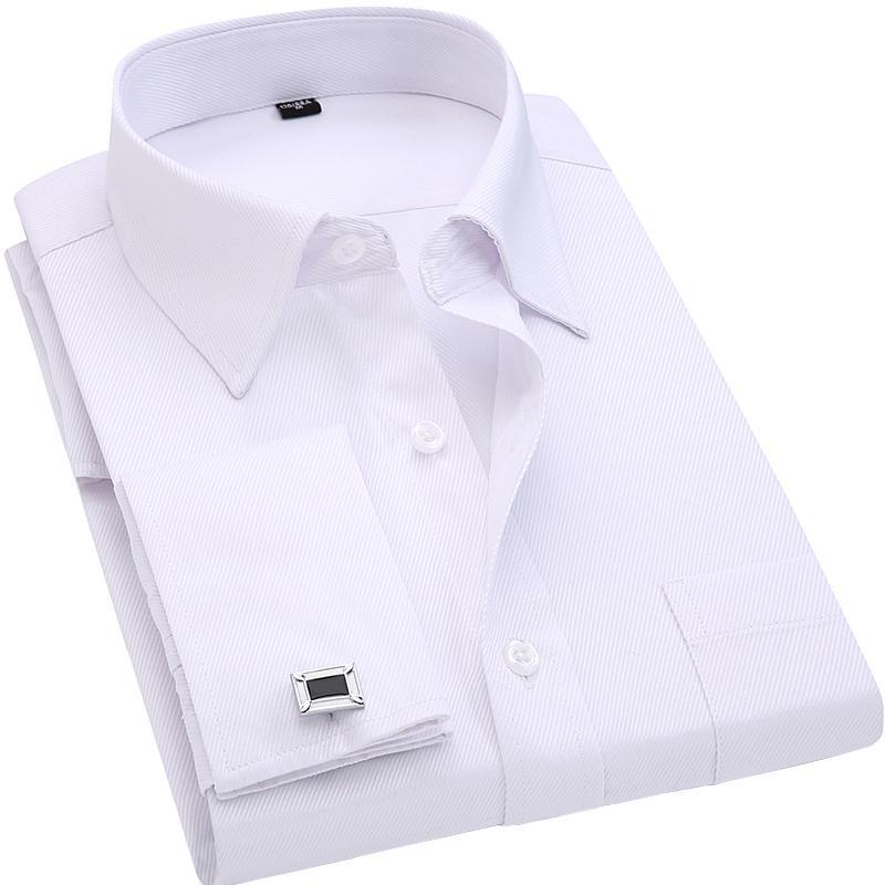 3c30f8a176 Compre Gemelos Franceses Para Hombre Camisas De Vestir De Negocios Mangas  Largas Blanco Azul Sarga Tamaño Asiático S