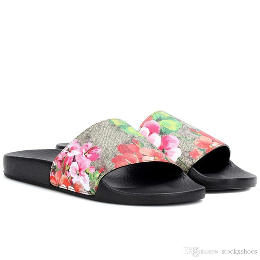 9624ba54 Designer Rubber Slides Sandal Blooms Green Red White Web Fashion Mens  Womens Shoes Beach Flip Flops with Flower Box Duty Bag GGSlippers GGSh