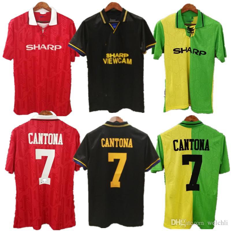d8ab55077 Compre Clássico 94 Homem Retro Camisa De Futebol Camisas De Futebol 1994 Mu  Roupas De Futebol Personalizado Cantona 7 Beckham Keane Solskjaer Giggs De  ...