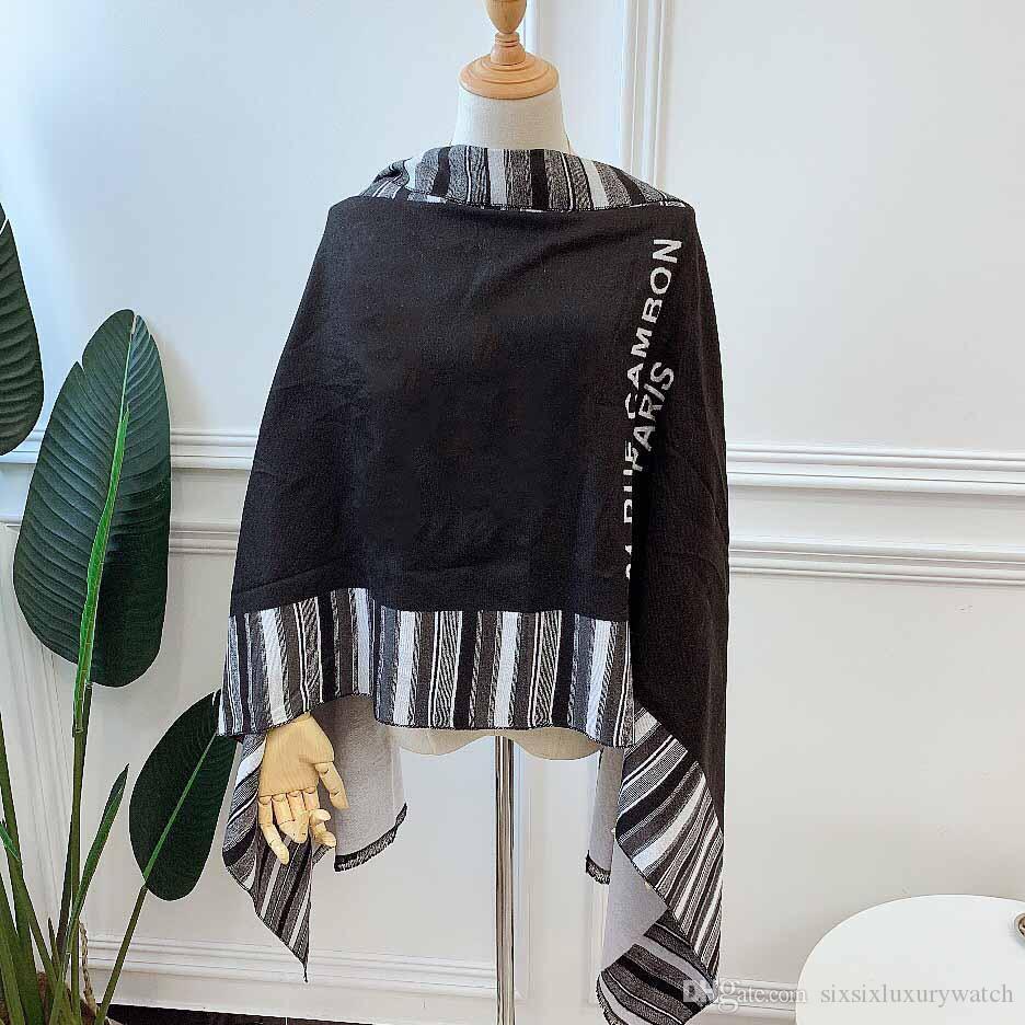 New Stripes Luxury Scarf Wrap C Designer Black 100 Wool High