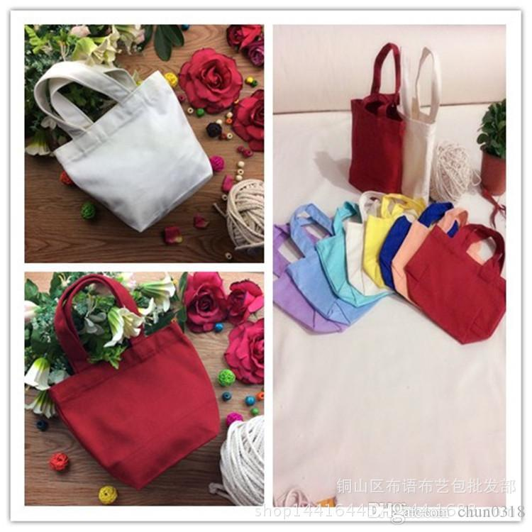 Free Shipping Hot Portable Pure Color Cotton Canvas Storage Bag Outdoor Picnic Bag Picnic Pouch Lunch Container Household